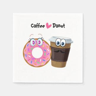 O café bonito e engraçado ama os guardanapo de