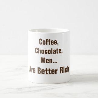 O café, chocolate, homens é caneca de café melhor