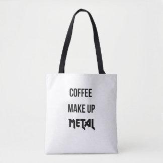 O café compo a sacola do cliente do metal bolsas tote