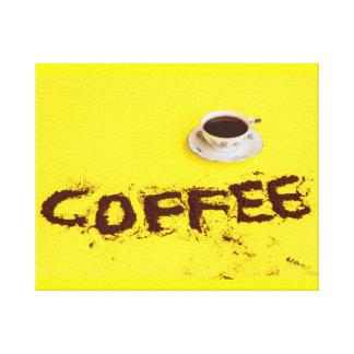 o café escrito em canvas