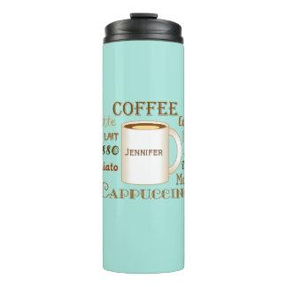 O café nomeia o Tumbler térmico personalizado Aqua