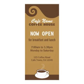 O café roda cartões da cremalheira da cafetaria do 10.16 x 22.86cm panfleto
