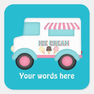 O caminhão do sorvete adiciona a etiqueta das adesivo quadrado
