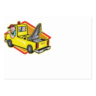 O camionista do Wrecker do reboque manuseia acima Modelo Cartoes De Visita
