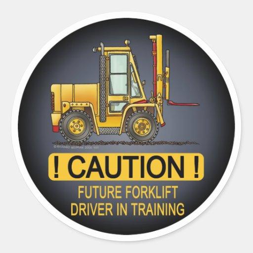 O camionista futuro da empilhadeira caçoa a etique adesivo