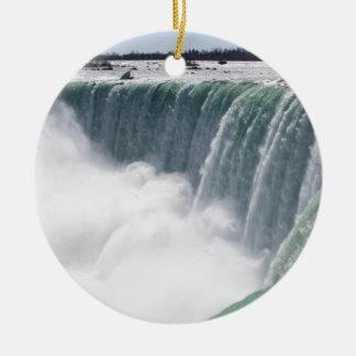 O canadense cai ou a ferradura cai em Niagara F Ornamento De Cerâmica Redondo