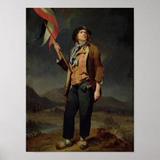 O cantor Chenard, como a Sem-Culotte, 1792 Pôster