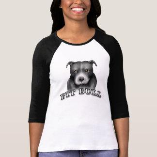 O cão do pitbull projeta a camisa das senhoras da