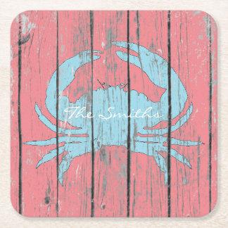 O caranguejo azul personaliza porta-copo de papel quadrado