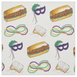 O carnaval de Nova Orleães NOLA perla o tecido da
