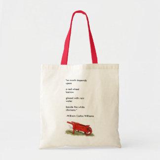 """""""O carrinho de mão vermelho """" Sacola Tote Budget"""