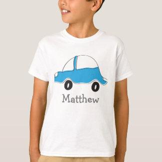 O carro azul personalizado do doodle caçoa a camiseta