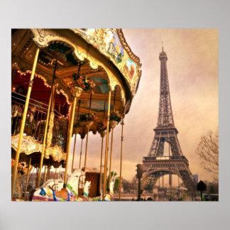 O carrossel e a torre Eiffel Impressão