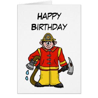 O cartão caucasiano do bombeiro dos desenhos