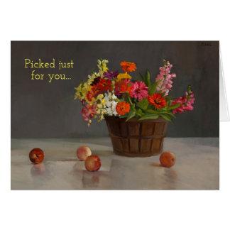 """O cartão com a cesta das flores """"escolheu apenas"""