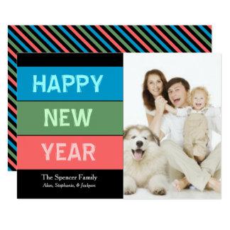 O cartão com fotos de ano novo da tipografia de convite 12.7 x 17.78cm