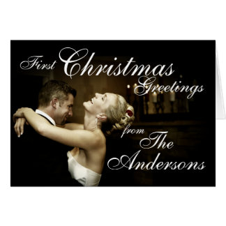 O cartão com fotos do primeiro casal do Natal