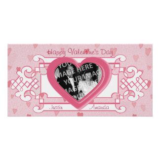 O cartão com fotos dos namorados do casal cor-de-r