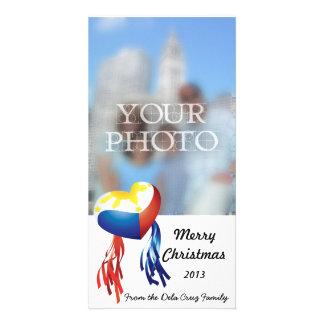 O cartão com fotos filipino do Parol da bandeira d