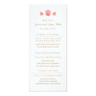 O cartão cor-de-rosa do menu do casamento da convite 10.16 x 23.49cm
