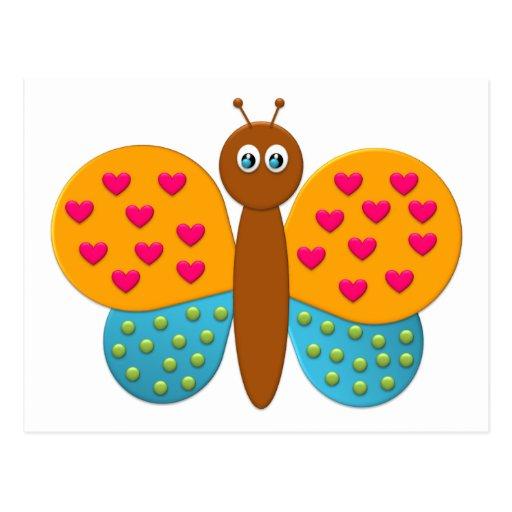 O cartão da borboleta da fantasia do bombom cartoes postais