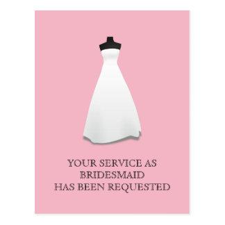 O cartão da madrinha de casamento ou da dama de