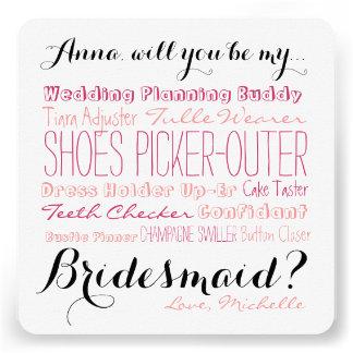 O cartão da proposta da dama de honra pergunta a convite personalizado