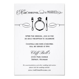 O cartão | da recepção come, bebida & seja casado convite 8.89 x 12.7cm