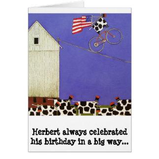 o cartão de aniversário acobarda cómico