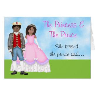 O cartão de aniversário da princesa, do príncipe e