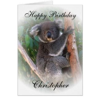 O cartão de aniversário do urso de Koala apenas