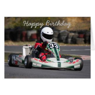 O cartão de aniversário do vai karting a raça do