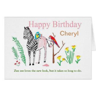 O cartão de aniversário engraçado, personaliza