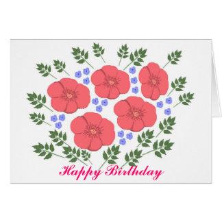 O cartão de aniversário floral dos anos setenta