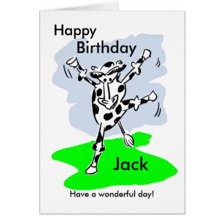 O cartão de aniversário nomeado vaca da dança