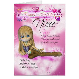 O cartão de aniversário para a sobrinha, torta de
