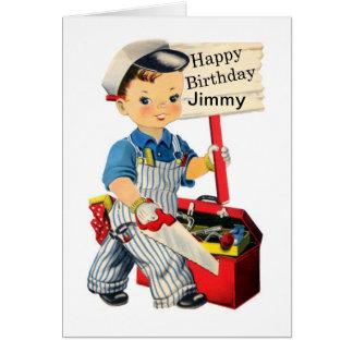 O cartão de aniversário pequeno do carpinteiro