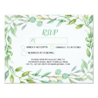 O cartão de casamento de RSVP sae da aguarela da