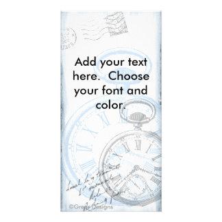O cartão de imagem de Pocketwatch do tempo do reló Cartões Com Fotos Personalizados