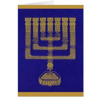 O cartão de Menorah do templo