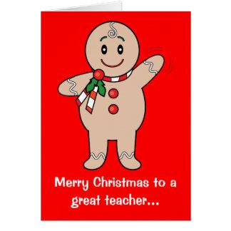 O cartão de professor do Natal: Menino do pão-de-e