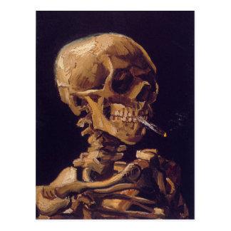 """O cartão de um cigarro ardente de Van Gogh """"crânio"""