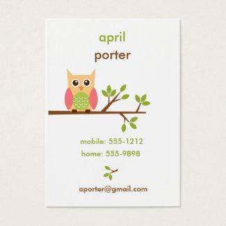O cartão de visita da coruja/a chamada/mamães