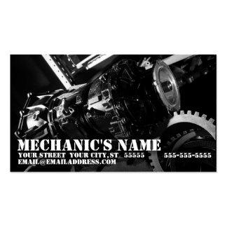 O cartão de visita do mecânico com foto da