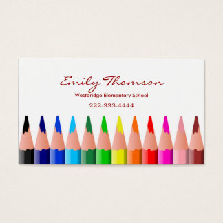 O cartão de visita do professor colorido dos lápis