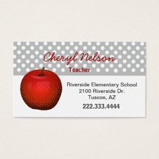 O cartão de visita do professor vermelho à moda de