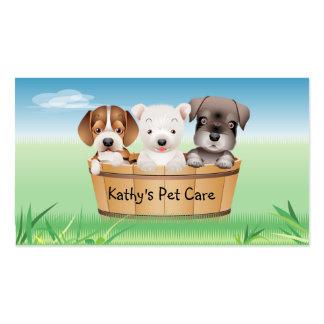O cartão de visita veterinário animal persegue o b