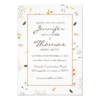 O cartão do convite do casamento floresce o