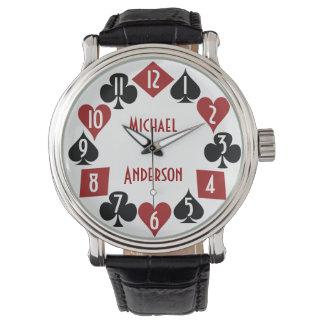 O cartão do jogador do casino do póquer sere o relógios de pulso