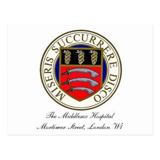 O cartão do logotipo do hospital de Middlesex